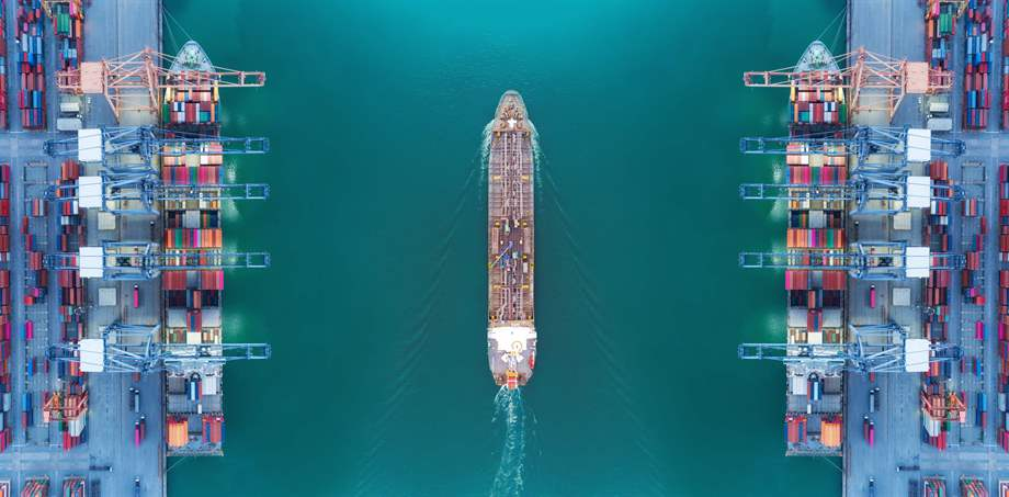 port and vessel aerial view